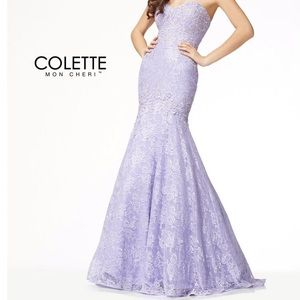Colette Mon Cheri Navy blue sequin prom dress 12